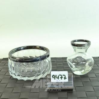 kl. Vase und 1 Bonbonniere, Kristall,