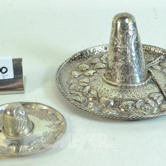 2 versch. Sombreros, 900er/925er Silber