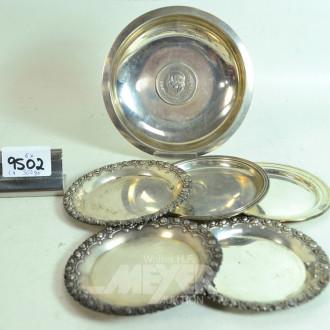 6 div. Silberschalen, 800er/925er Silber