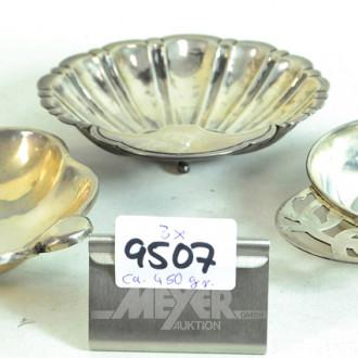3 versch. Schalen, 925er Silber