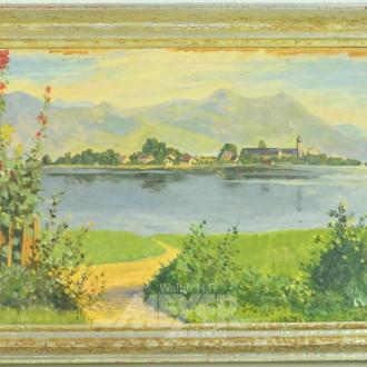 kl. Gemälde ''See mit Bergmasiv''