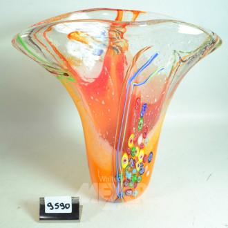 gr. schwere Glasvase, orangegrundig,