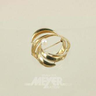 Brosche, 585er Gelbgold, mit 1 Perle