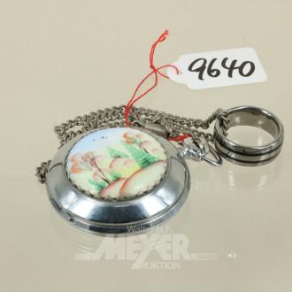 Taschenuhr mit Kette und Ring