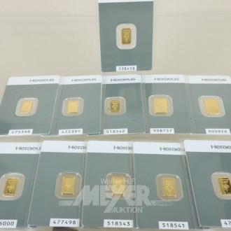11 Goldbarren 999er, Heraeus, 1 + 2 Gramm