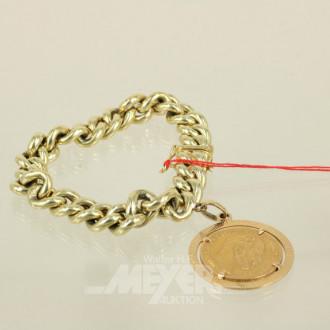 Kettenarmband, 585er Gelbgold, mit