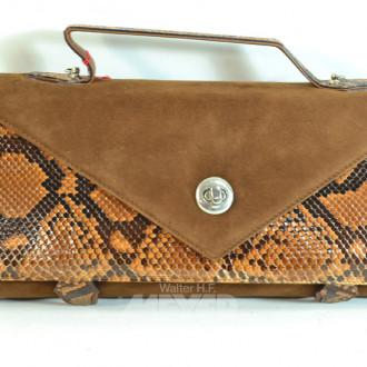 Kuvert Tasche, Schlangenleder/Velour,
