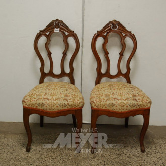 2 Stühle, Mahagoni, Bezug beige mit