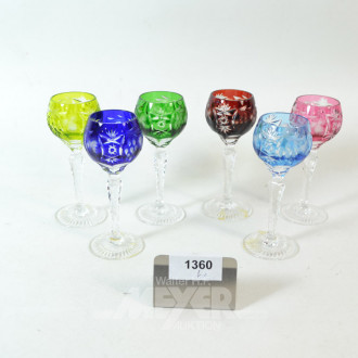 6 Likör-Römergläser, farbig