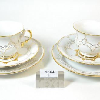 2 Kaffee-Gedecke, Golddekor, 6 tlg.,