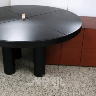 runder Konferenztisch, Leder schwarz