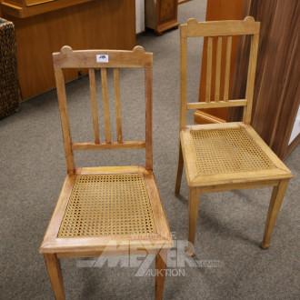4 Holzstühle, Sitzfläche: Korbgeflecht
