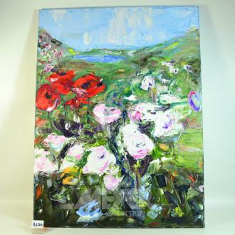 2 Gemälde ''Heckenrosen auf Sylt''  Öl/Lw.,