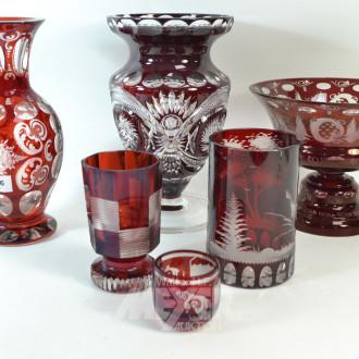 5 Teile Kristall: Vasen, Anbietschalen,