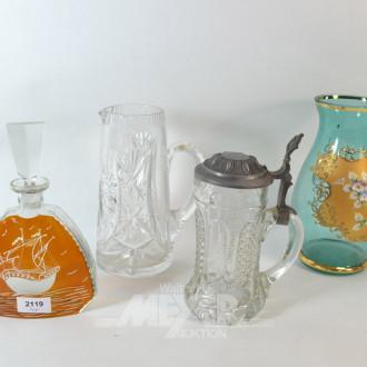 4 Teile Glas: Karaffe, Glasvase, Bierkrüge