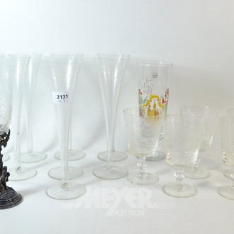 15 div. Gläser: Champagner, Bier und Wein