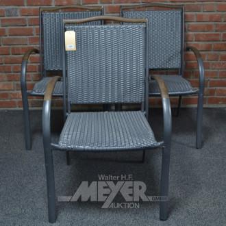 3 Gartenstühle, Kunststoffgeflecht grau