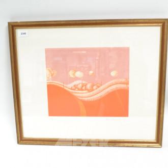 Radierung ''Landschaft/orange'', 1972