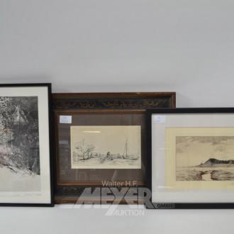 2 Radierungen: Rembrand, Hermenez