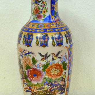Porzellanvase Blumendekor, Höhe 46 cm