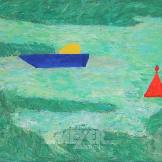Gemälde ''Boot vor der Küste''