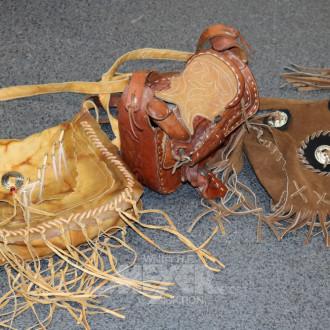 3 Damenhandtaschen, Leder, braun,