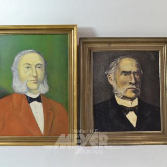 2 Gemälde ''Herren-Portraits'',