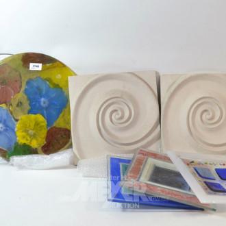 Posten Glas und Gips-Dekorationen