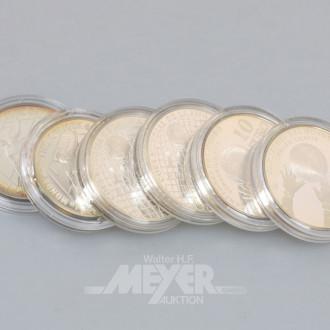 6 Silbermünzen 10 EURO