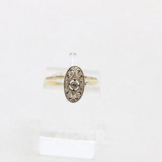 kl. zarter Ring 585er GG mit 1 kl. Diamant, RG 53