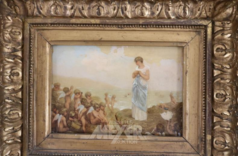 kl. Gemälde ''Frauengestallt mit Puttis''