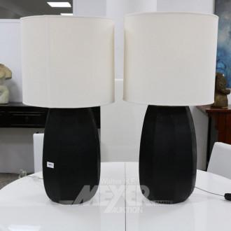 Paar Tischlampen, Glasfuß schwarz,