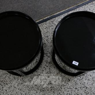 Paar runde Beistelltische, Lack schwarz,
