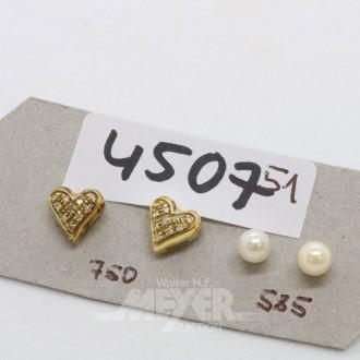 2 Paar Ohrstecker, 750er/585er GG