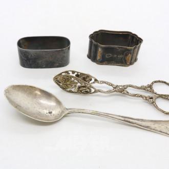 4 Teile Silber: Löffel, Gebäckzange,