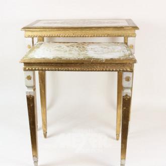Zweisatztisch, gold/weiß gefaßt,