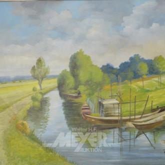 Gemälde ''Landschaft mit Angler