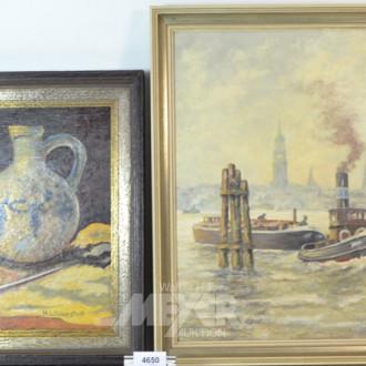 5 versch. Gemälde ''HH-Hafen, ital.