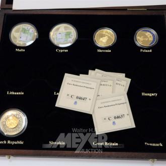 3 Münzkästen mit europäischen Münzen,