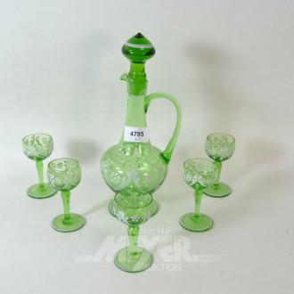 Glas-Likörservice, grün: