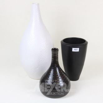 3 versch. Keramikvasen