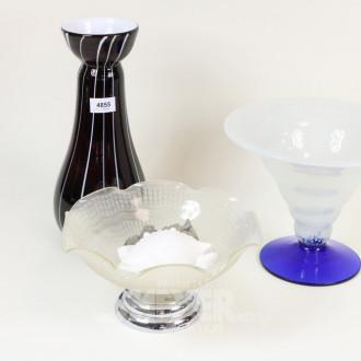 Kristallvase sowie 2 Glasschalen