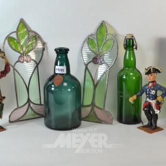 6 Glasdekorationen: 3 Flaschen,