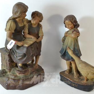 2 Dekofiguren: ''lesende Kinder''