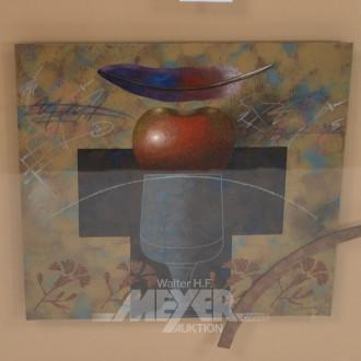 Gemälde/Mischtechnik ''Apfel mit Feder''