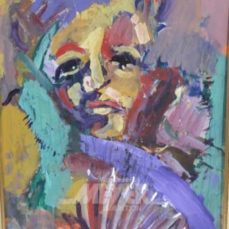 Gemälde ''Dame mit Fächer''
