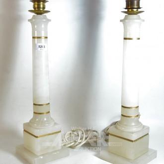 2 Lampenfüße, Alabaster mit Messing-