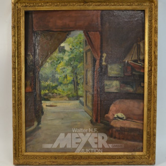 Gemälde ''Interieur mit Blick in Grüne''