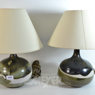 Paar Tischlampen, Keramikfuß, bemalt,