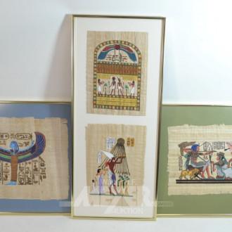 3 ägyptische Bilder, hinter Glas gerahmt